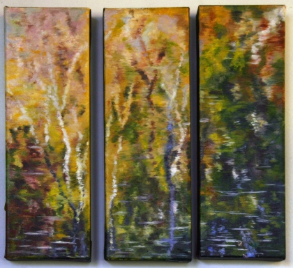 "Oil: Triptych, 4""x12"" each"